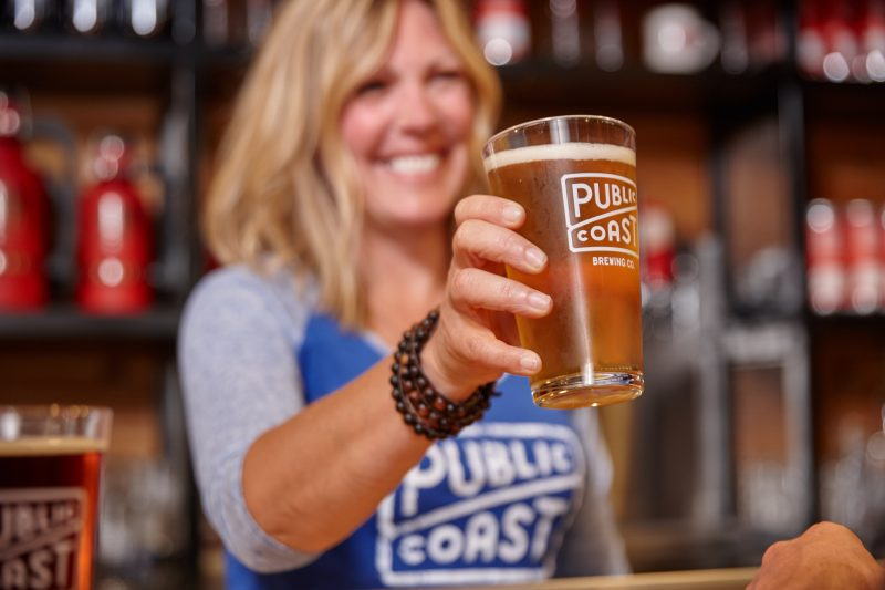 Cheers at the Public Coast brewery.