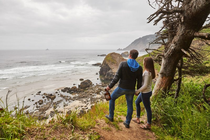 Couple hiking on the coast.