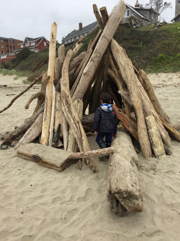 Beach fort in the sand.